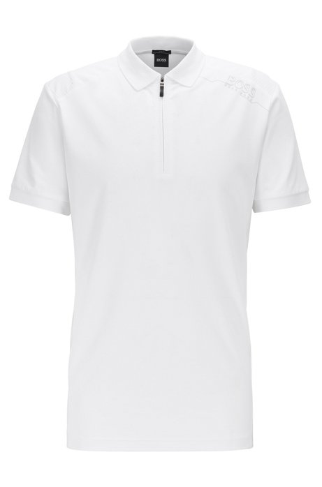 Slim-fit polo shirt with S.Café® and perforated panels, White