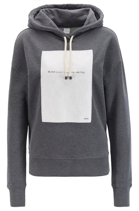 Oversized-fit hooded sweatshirt with slogan panel, Anthracite
