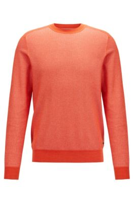 Pullover aus feinem Baumwoll-Jacquard, Orange