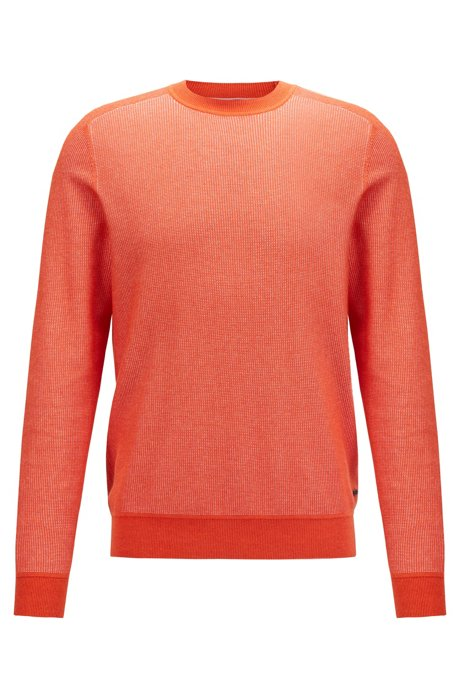 Regular-fit sweater in micro-jacquard cotton, Orange