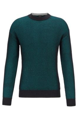 Jersey relaxed fit con estructura a dos tonos en efecto de malla, Verde