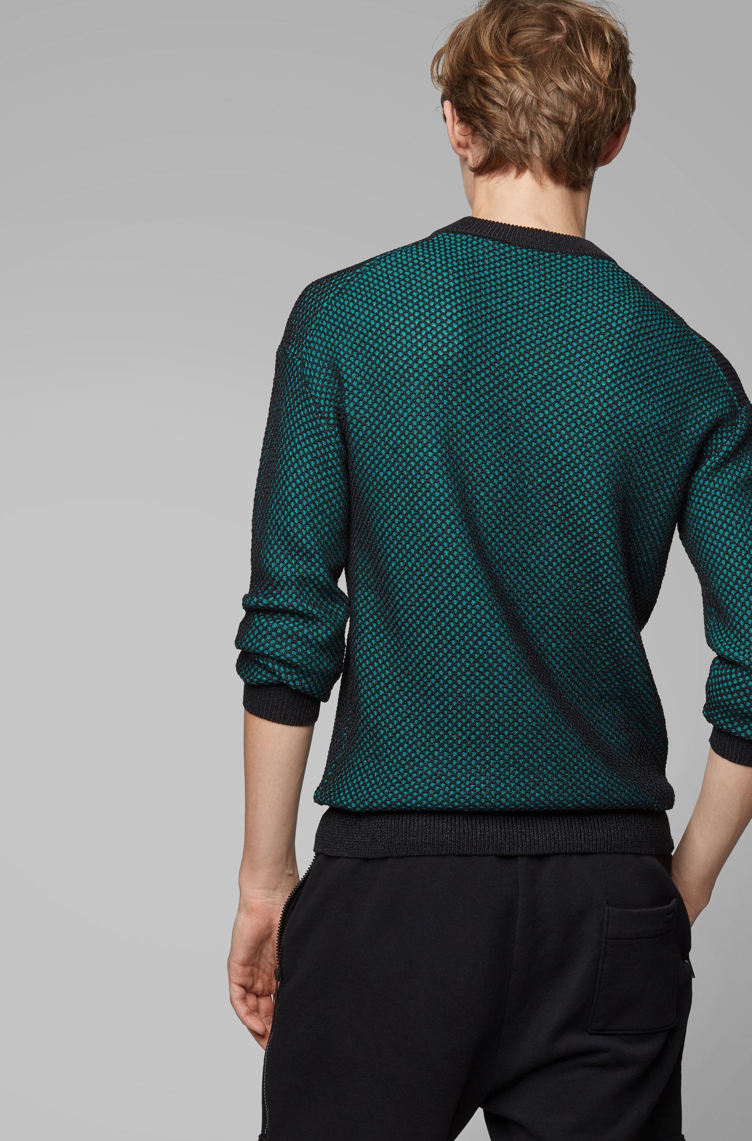 Pull Relaxed Fit à la structure bicolore rappelant le mesh, Vert