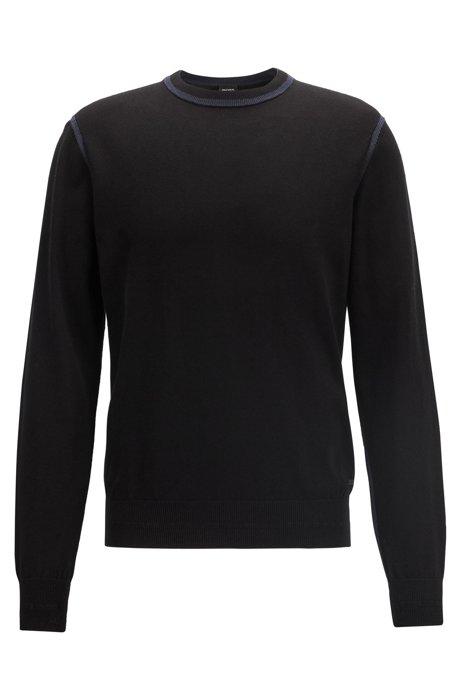 Jersey de punto en algodón serigrafiado con detalles contrastados, Azul oscuro