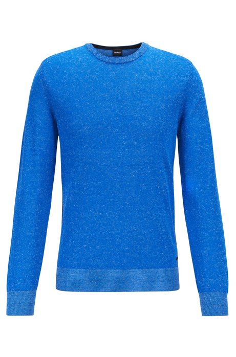 Crew-neck sweater in a knitted linen blend, Blue