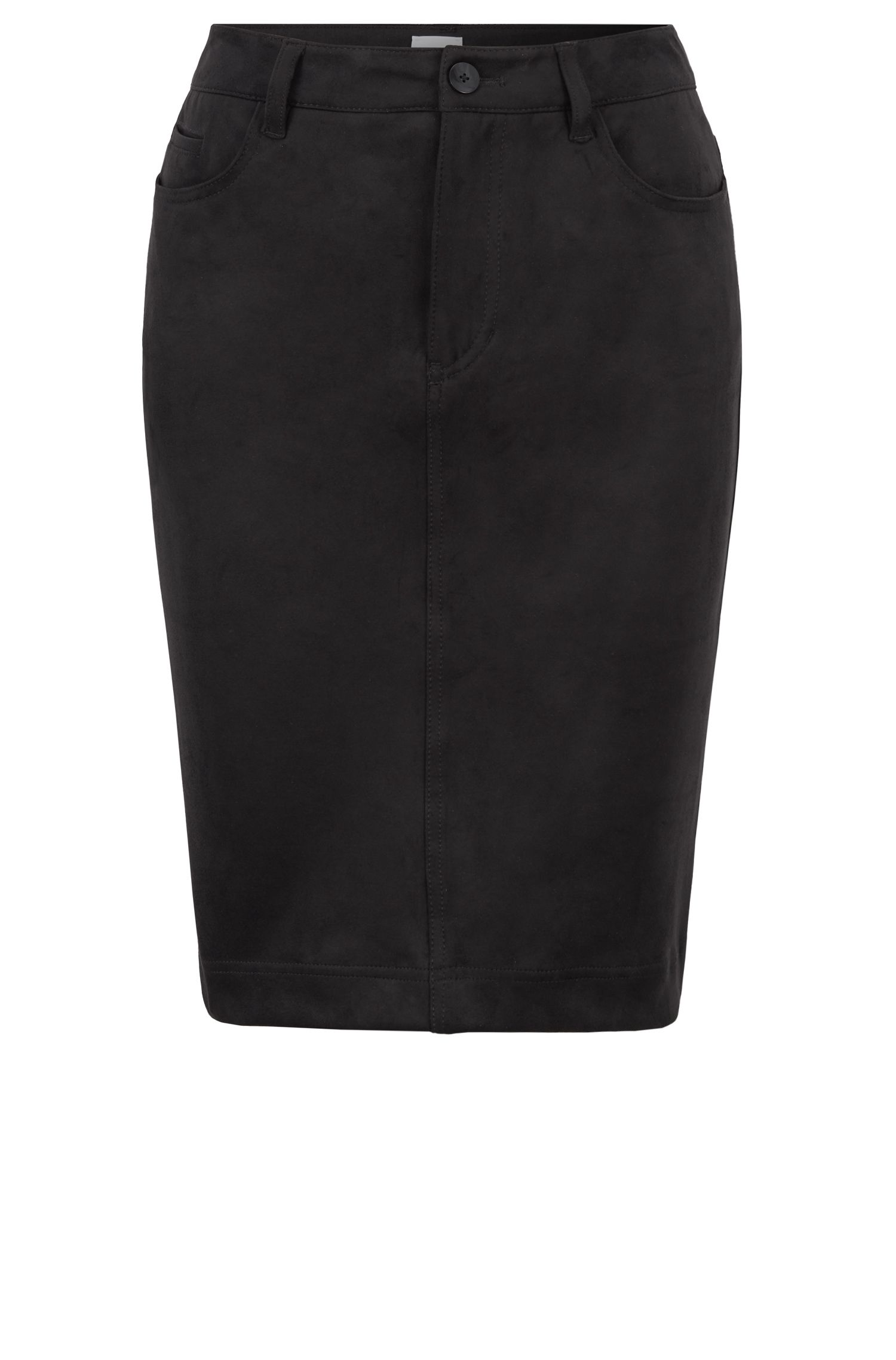 Knielange rok in een A-lijn, van imitatiesuède met stretch, Zwart
