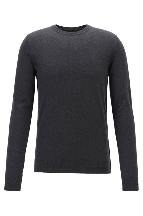 Slim-fit sweater in cotton and cashmere, Black