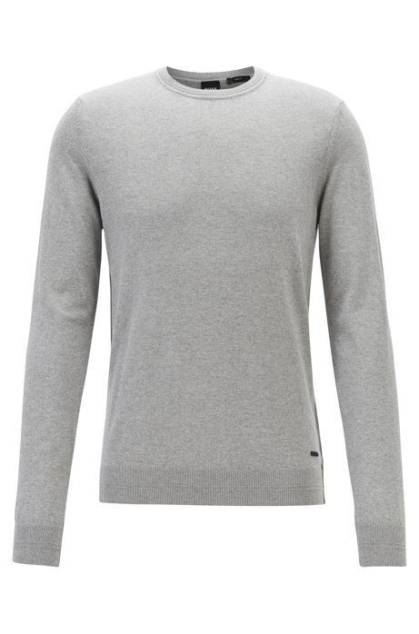 Slim-fit sweater in cotton and cashmere, Open Grey