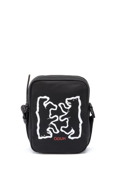 Bear motif reporter bag in nylon gabardine, Black