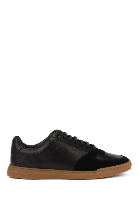 Low-top trainers in suede and nappa leather, Black