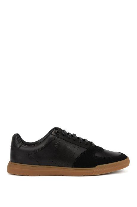 Lowtop Sneakers aus Velours- und Nappaleder, Schwarz