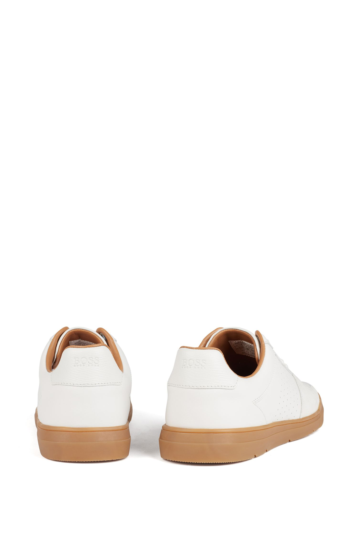 Lowtop Sneakers aus Velours- und Nappaleder, Weiß