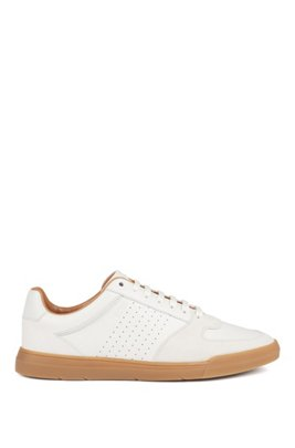 Low-top trainers in suede and nappa leather, White