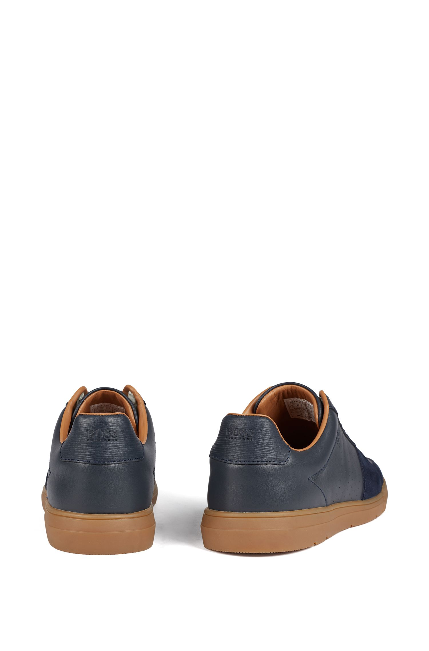 Low-top trainers in suede and nappa leather, Dark Blue