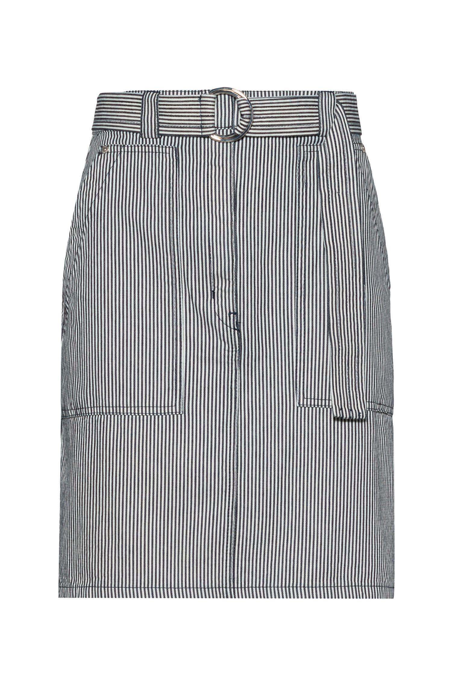 Jupe crayon en denim à rayures, avec ceinture et poches oversize, Fantaisie