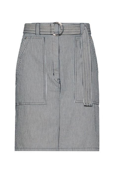 Belted pencil skirt in striped denim with oversized pockets, Patterned