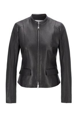Lederjacke aus Nappaleder mit Schließe, Schwarz
