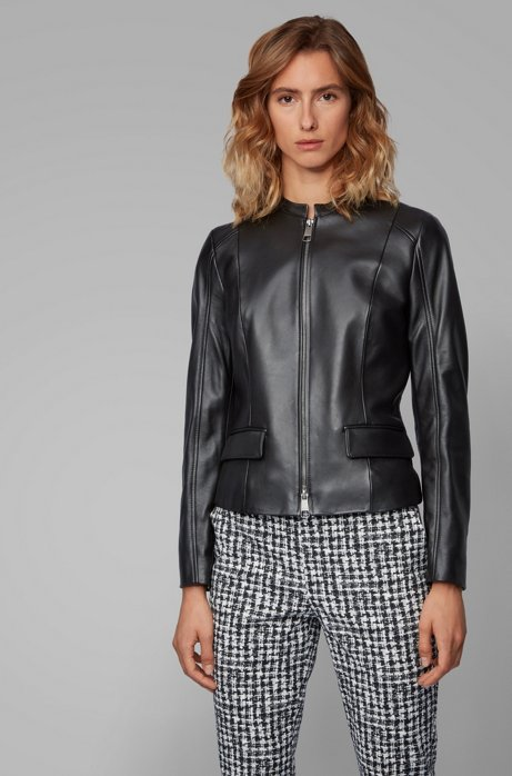 Leather jacket in lamb nappa with buckle detail, Black