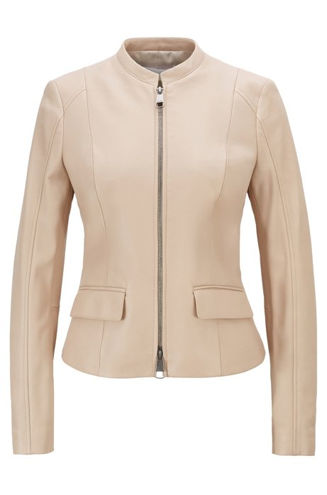 Leather jacket in lamb nappa with buckle detail, Light Beige