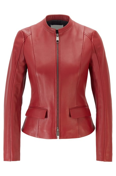 Leather jacket in lamb nappa with buckle detail, Dark Red