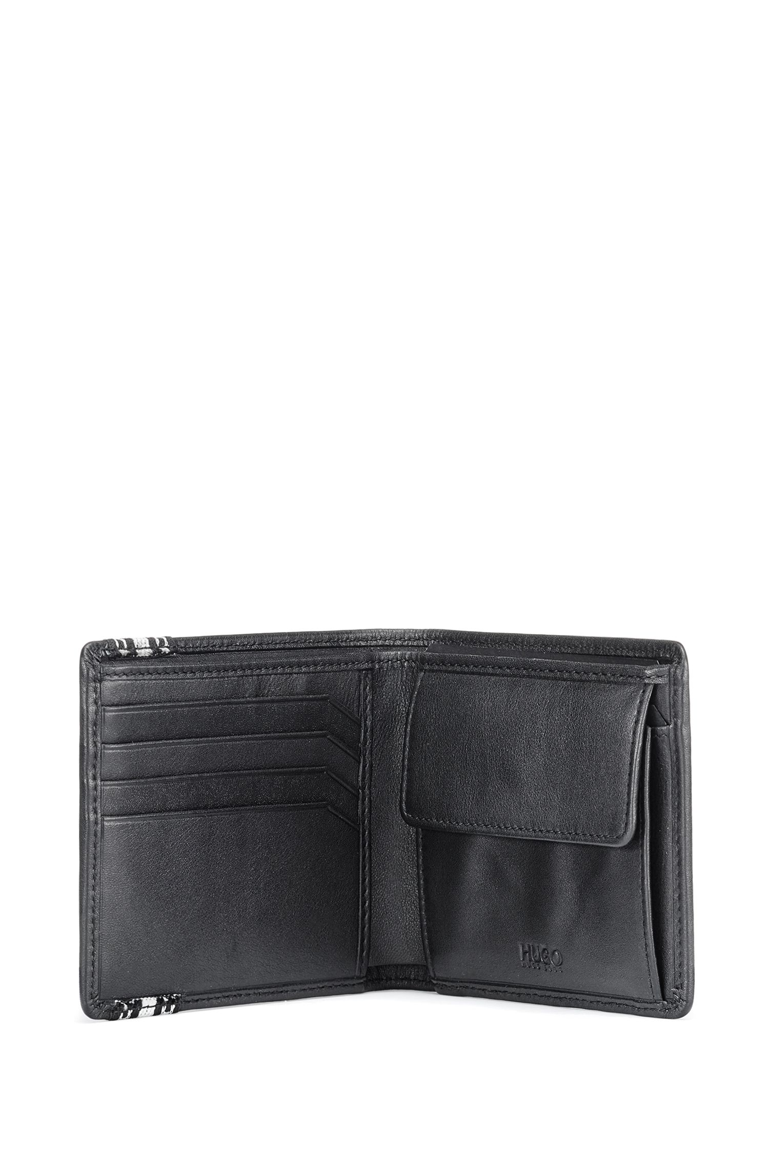 Cadeauset met portemonnee en sleutelhanger met zich herhalende logo's, Zwart