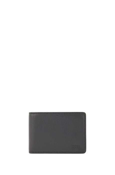Billfold wallet in nappa leather with card flap, Black