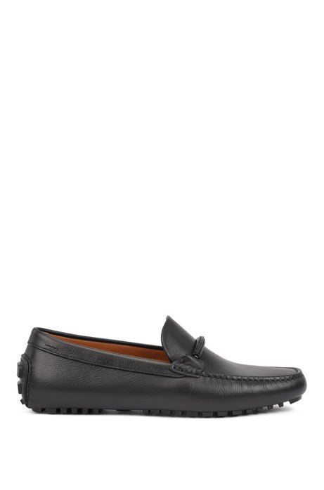Italian-made moccasins in polished leather with hardware details, Black
