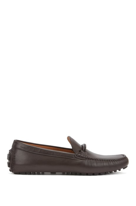 Italian-made moccasins in polished leather with hardware details, Dark Brown