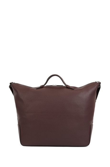 Holdall in grained Italian leather with two-way zip, Dark Red
