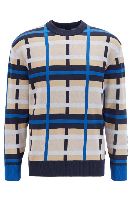 Gebreide trui met meerkleurig dessin, Blauw