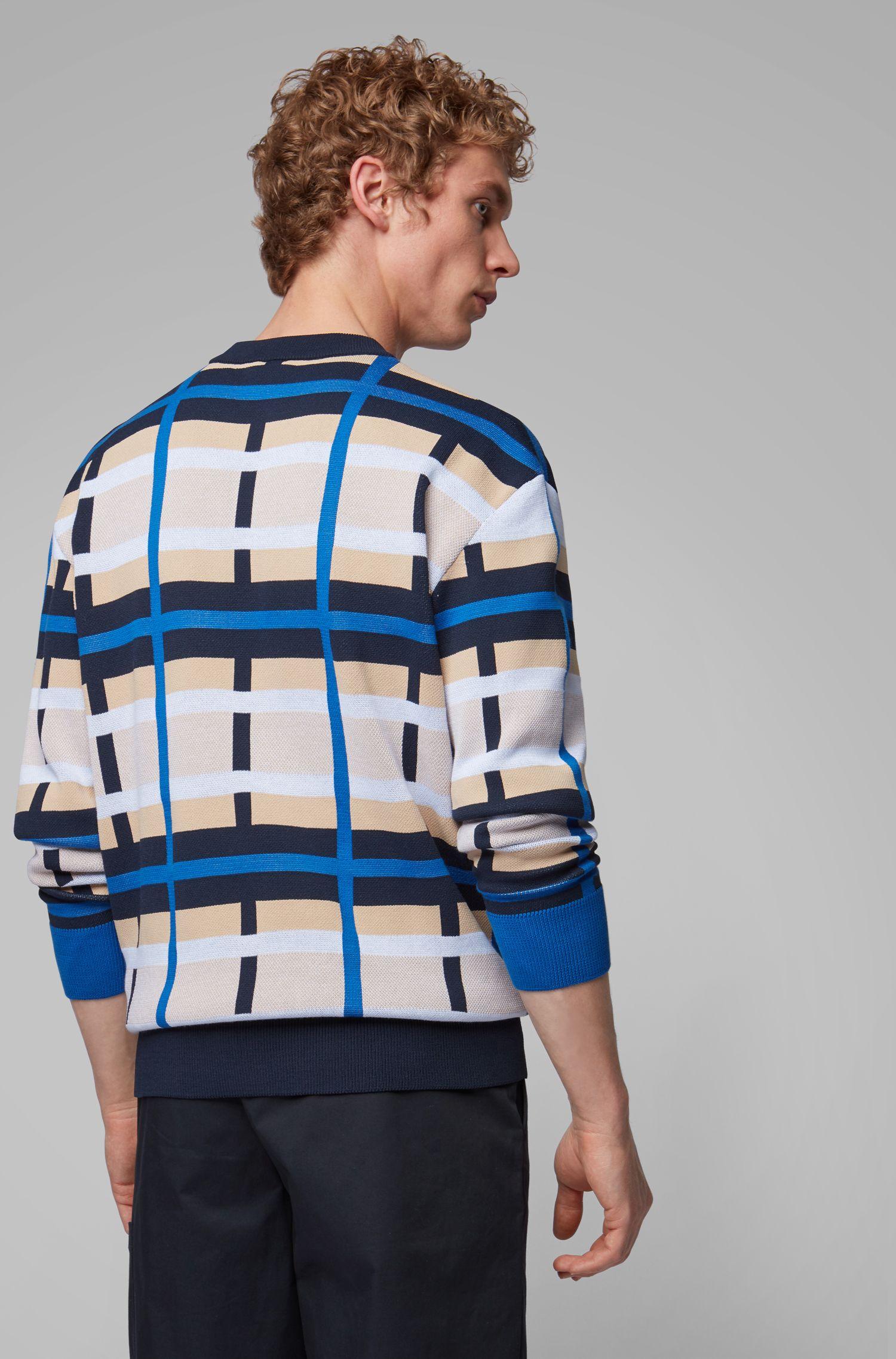 Strickpullover mit mehrfarbigem Muster, Blau