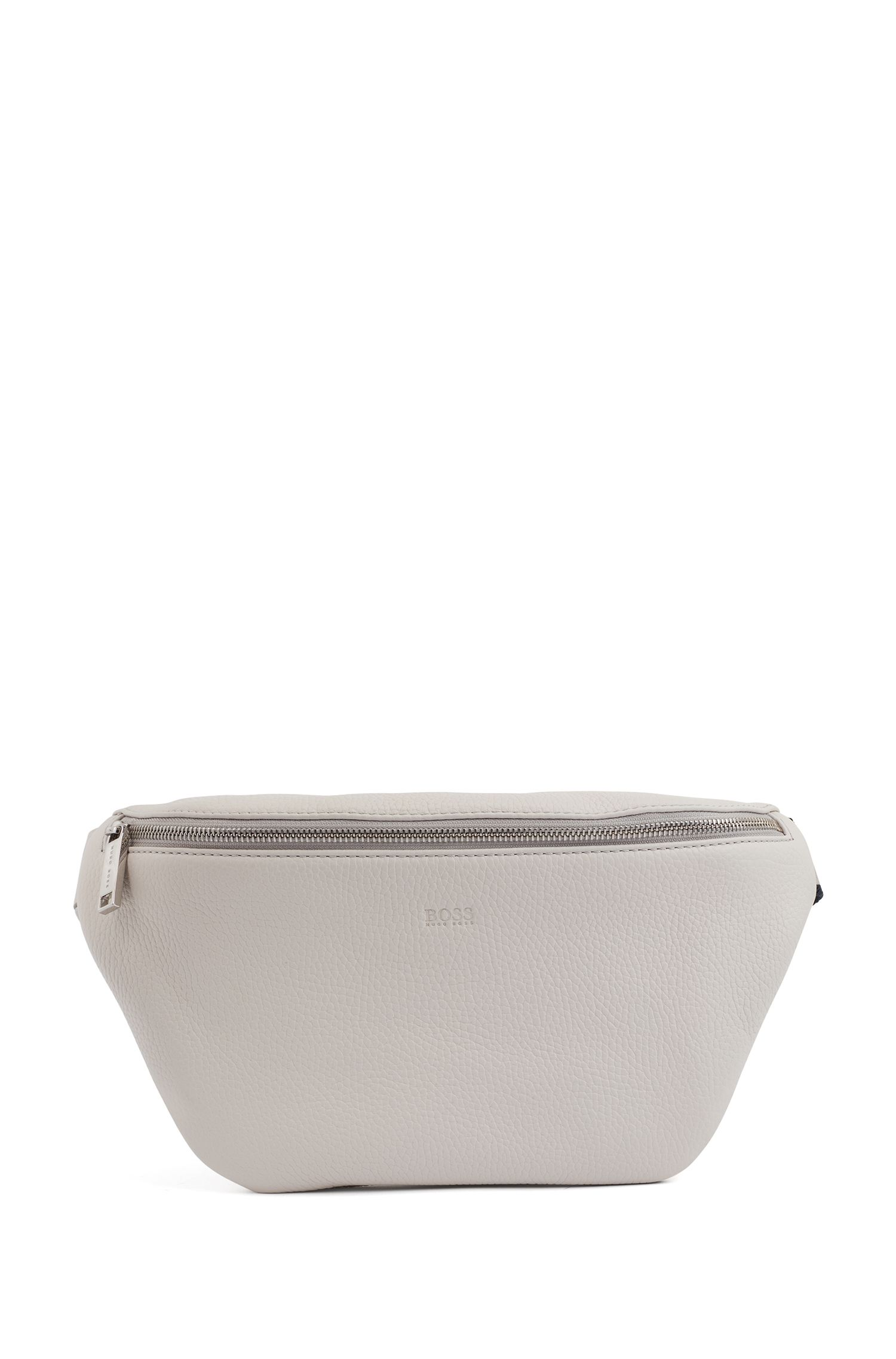 Belt bag in Italian leather, Light Grey