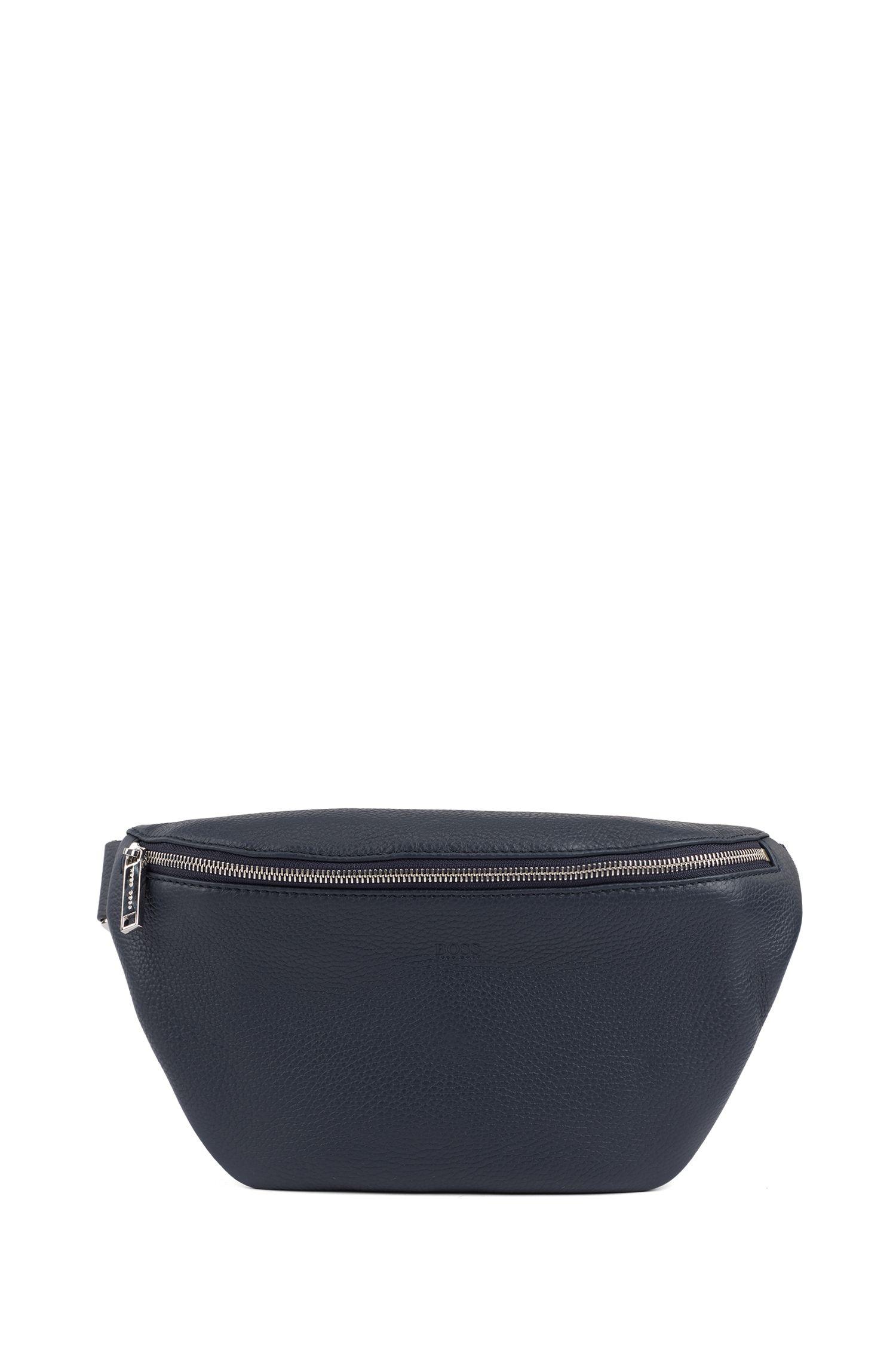 Belt bag in Italian leather, Dark Blue