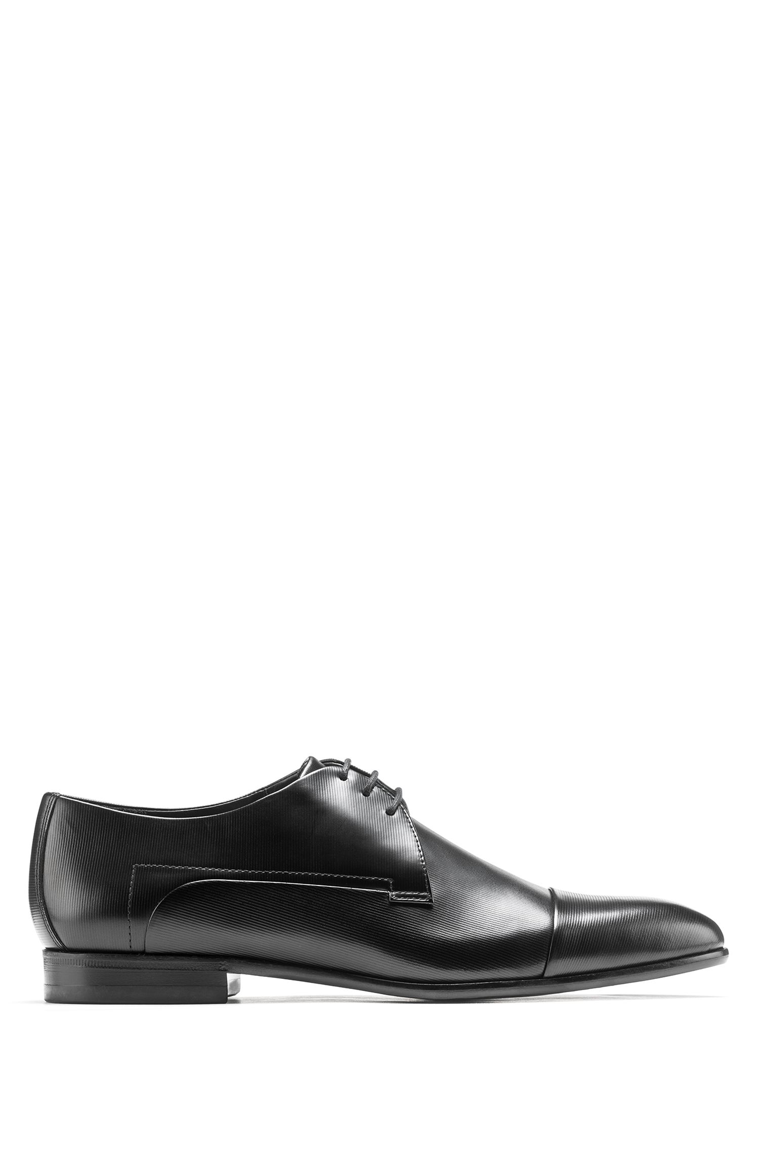 Derby shoes in leather with print detail, Black