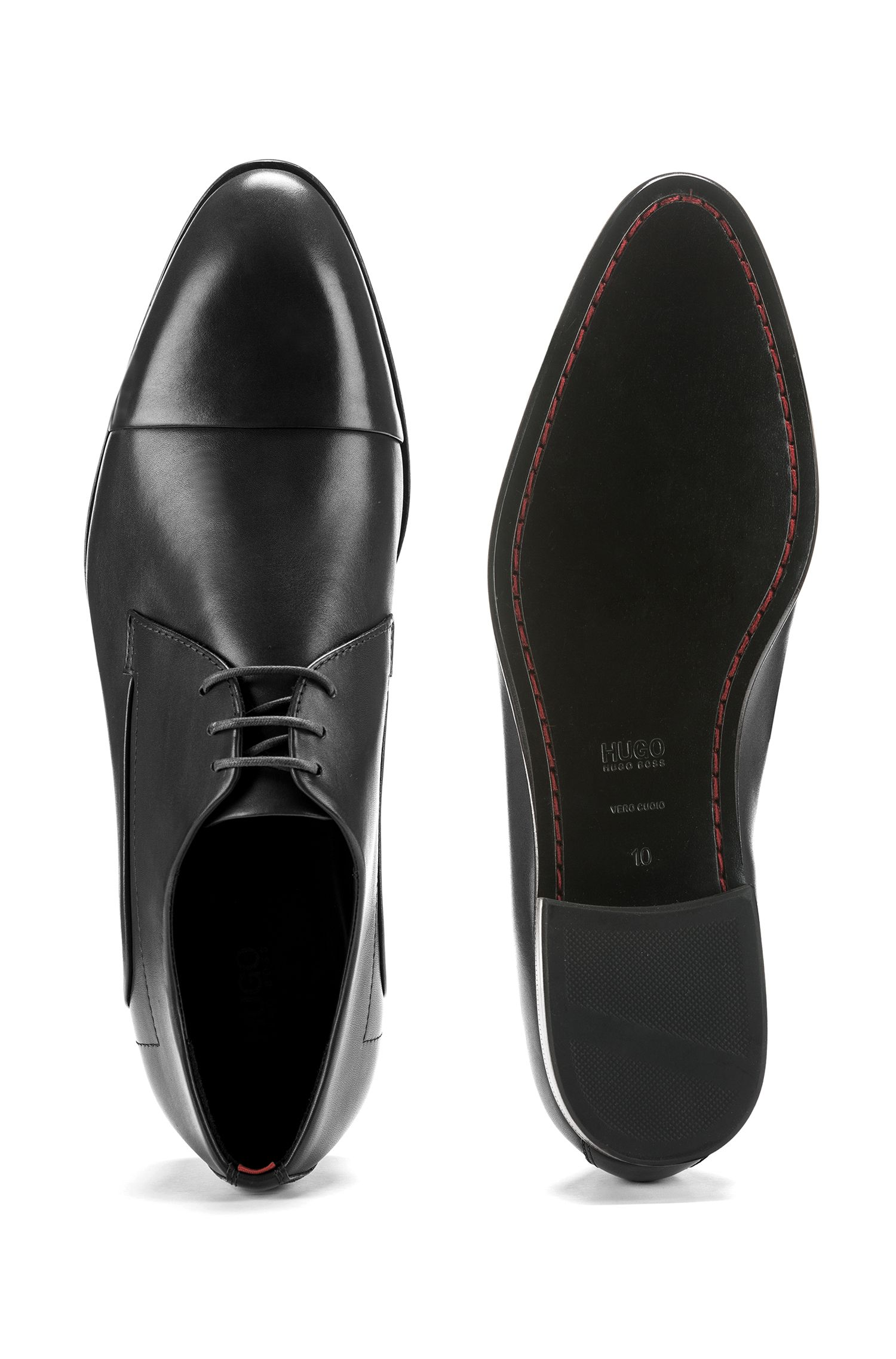 Leather cap-toe Derby shoes with stitch-and-turn seams, Black