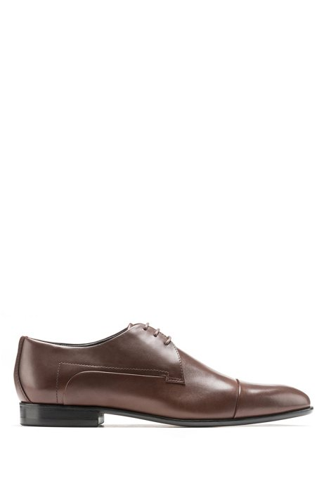 Leather cap-toe Derby shoes with stitch-and-turn seams, Brown