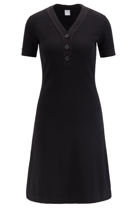 Henley-neck A-line dress in ottoman jersey, Black