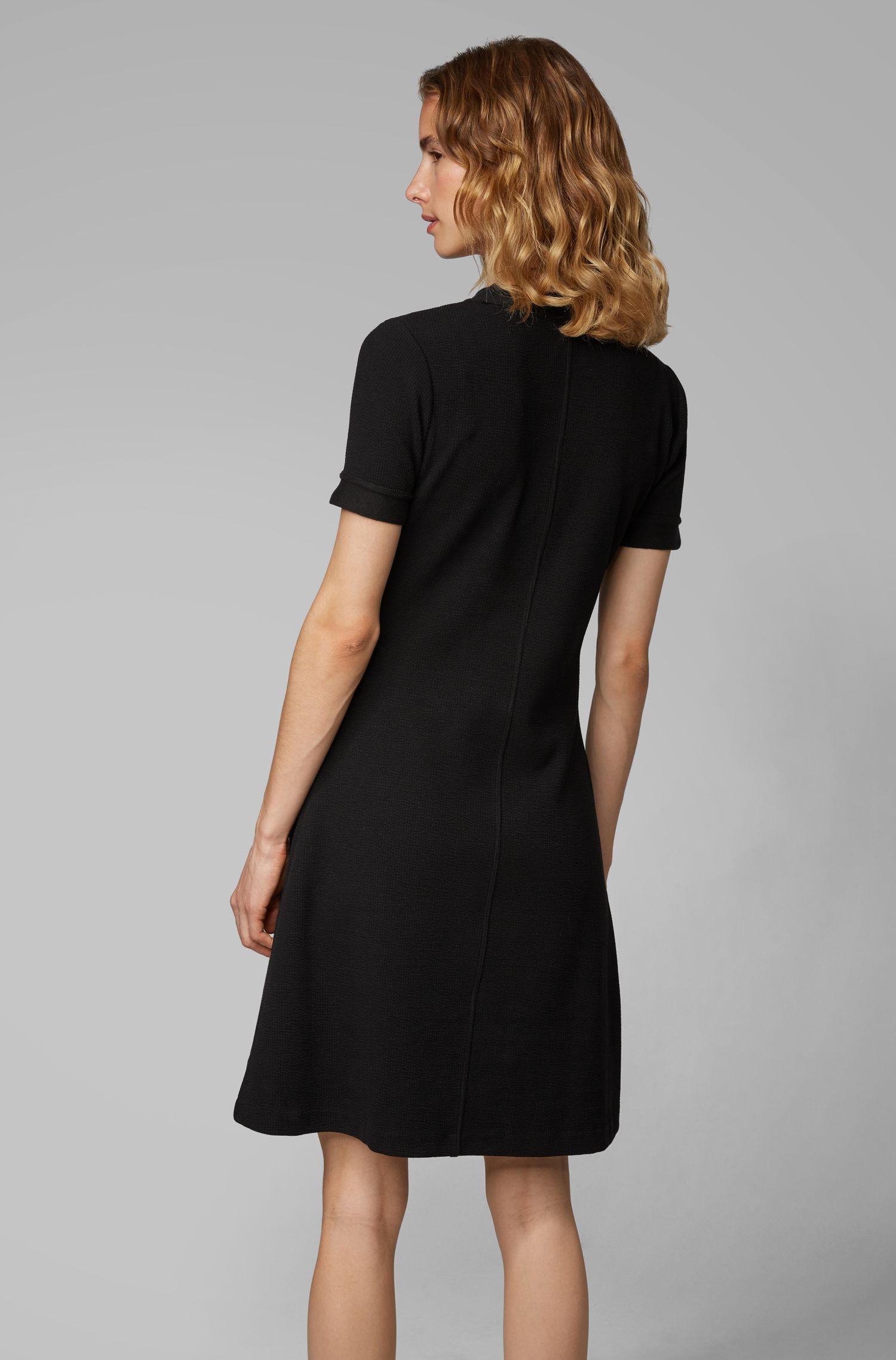 A-Linien-Kleid aus Ottoman-Jersey mit Henley-Ausschnitt, Schwarz