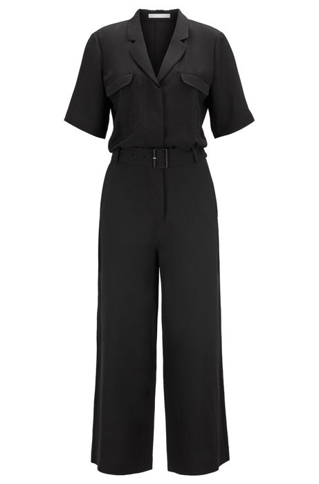 Safari-style jumpsuit in two-tone Italian twill, Black