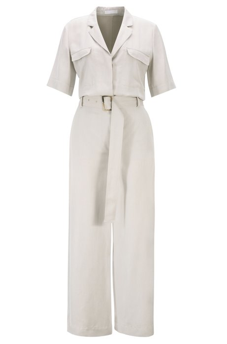 Safari-style jumpsuit in two-tone Italian twill, Light Beige