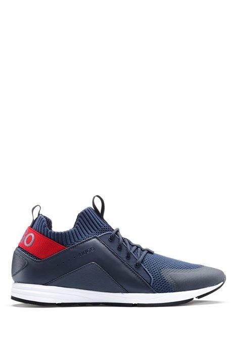 Baskets hybrides color block avec chaussette en maille, Bleu foncé