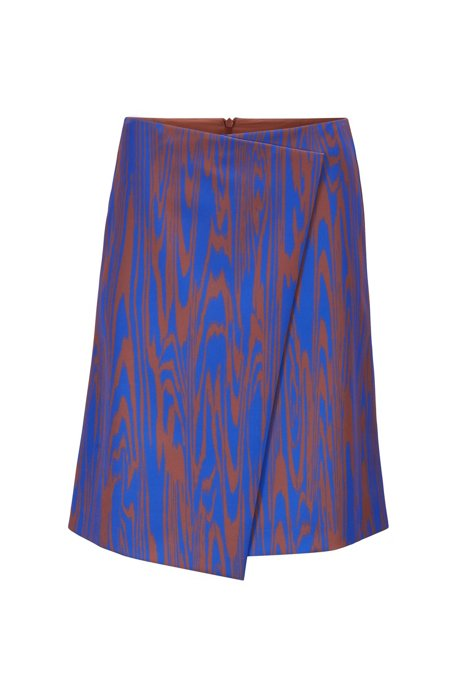 A-line wrap skirt with exclusive ripple-effect print, Patterned
