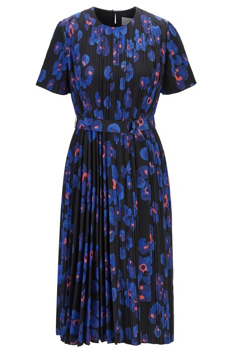 Plisséjurk met vaste plooien en bloemenprint, Blauw