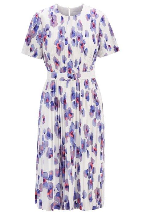 Plissee-Kleid mit Blumenprint, Gemustert