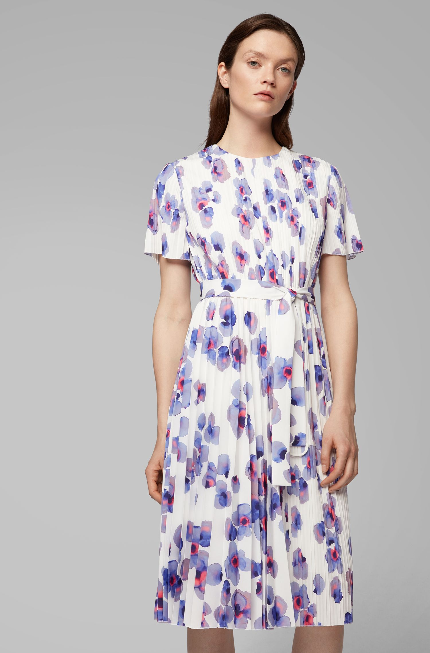 Plissé dress with permanent pleats and floral print, Patterned