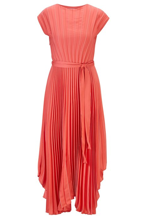 Midi dress in plissé fabric with asymmetric hemline, Patterned