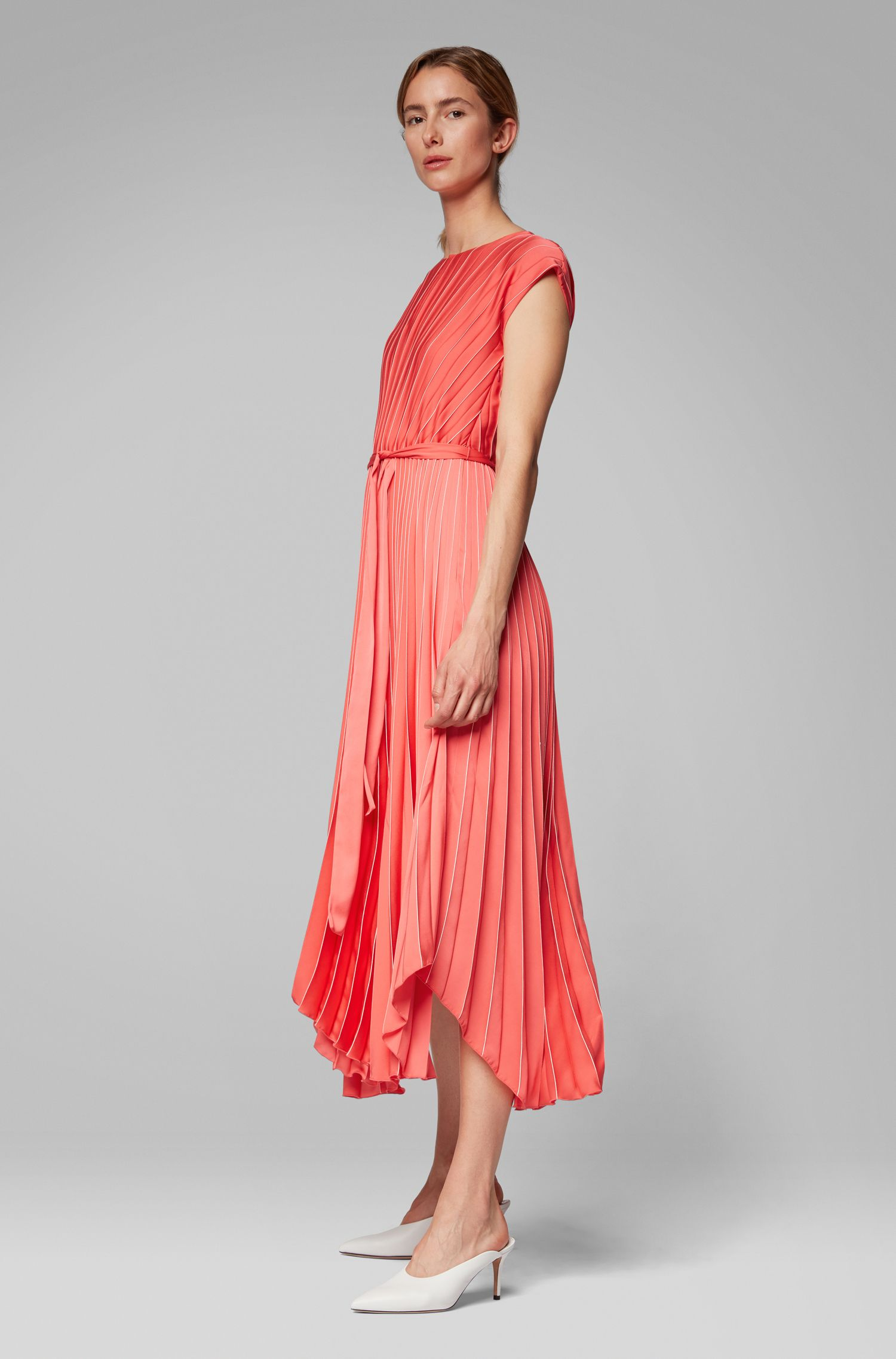 Midi-jurk in plissémateriaal met asymmetrische zoom, Bedrukt