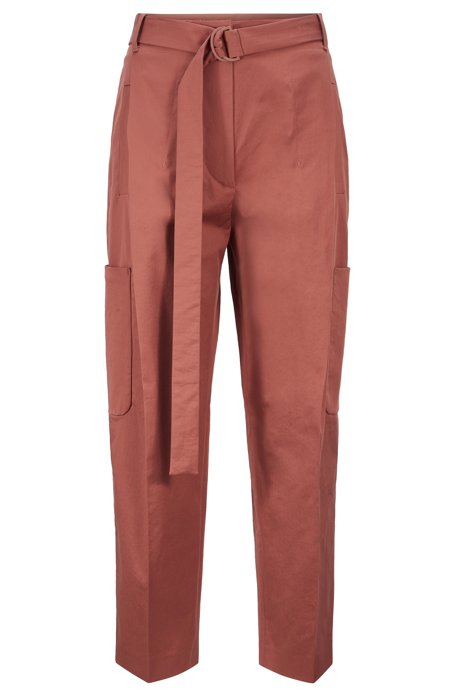Relaxed-fit trousers in Portuguese stretch cotton, Brown
