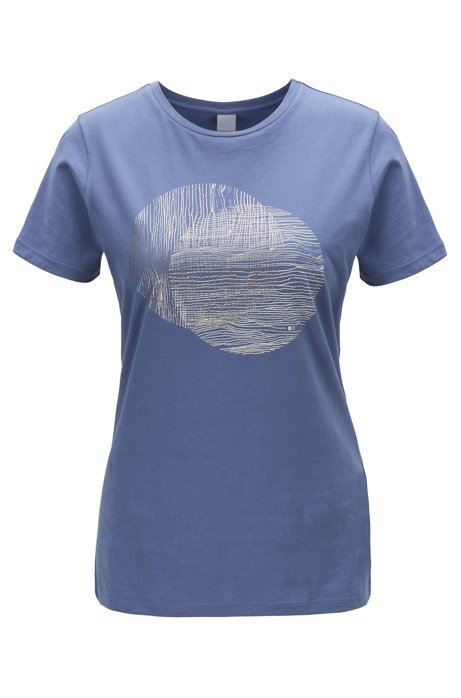 Crew-neck T-shirt in washed cotton with foil print, Blue