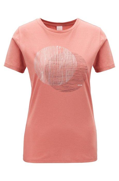 T-Shirt aus gewaschener Baumwolle mit Folien-Print und Rundhalsausschnitt, Hellrot
