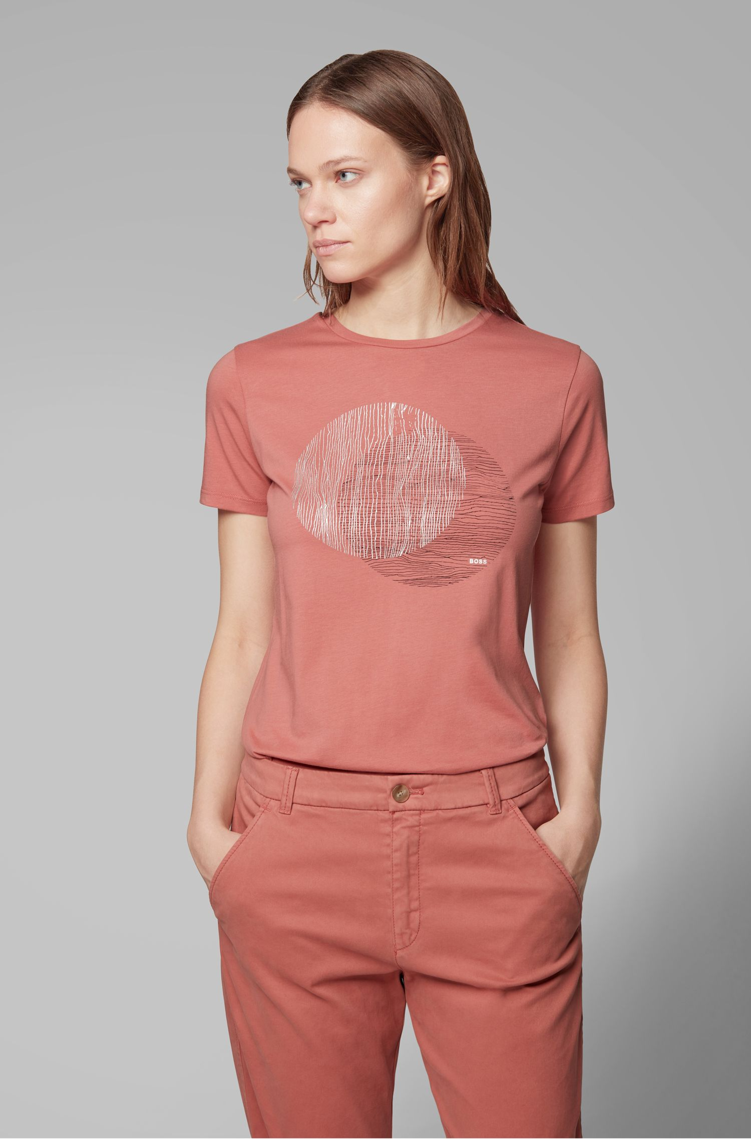 Crew-neck T-shirt in washed cotton with foil print, Light Red